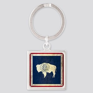 Grunge Wyoming Flag Square Keychain
