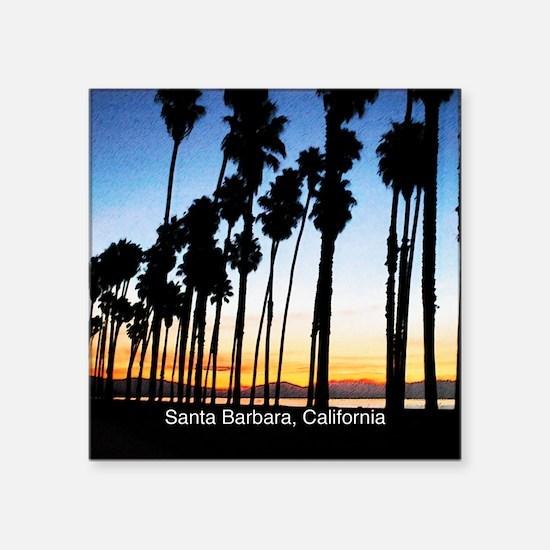 "Sunset in Santa Barbara Square Sticker 3"" x 3"""