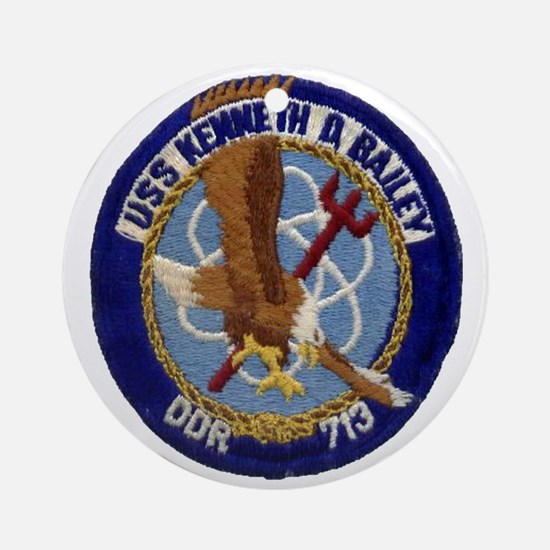 uss kenneth d. bailey ddr patch tra Round Ornament