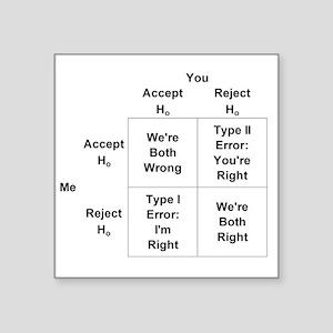 "Type I and II Errors Square Sticker 3"" x 3"""