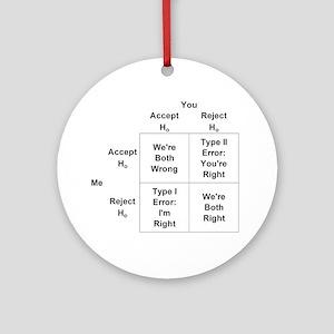 Type I and II Errors Round Ornament