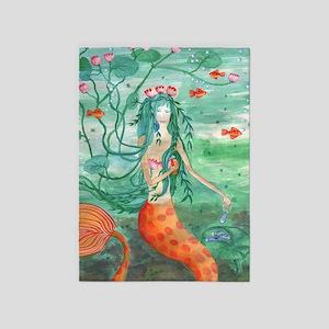 Lily Pond Mermaid 5'x7'Area Rug