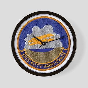 uss kitty hawk cv patch transparent Wall Clock