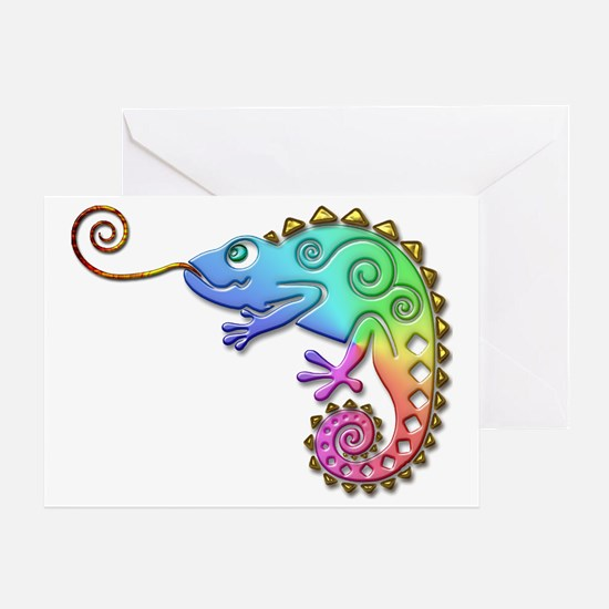 Cool Colored Chameleon Greeting Card