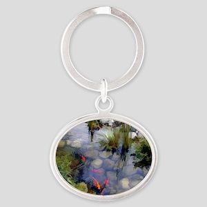 Koi Pond copy Oval Keychain