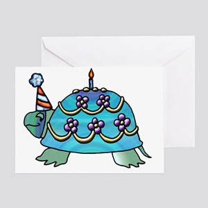Blue Birthday Turtle Greeting Card