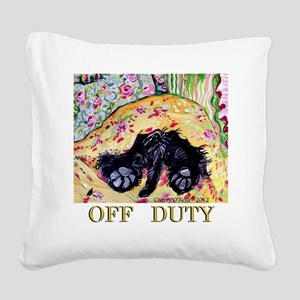 Scottish Terrier Off Duty Square Canvas Pillow