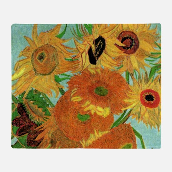 Van Gogh twelve sunflowers Throw Blanket