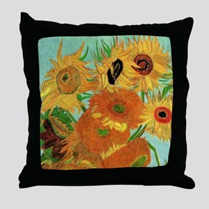 Van Gogh twelve sunflowers Throw Pillow