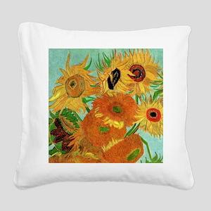 Van Gogh twelve sunflowers Square Canvas Pillow