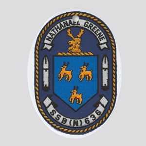 uss nathanael greene patch transpare Oval Ornament