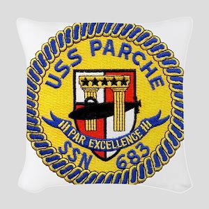 uss parche patch transparent Woven Throw Pillow