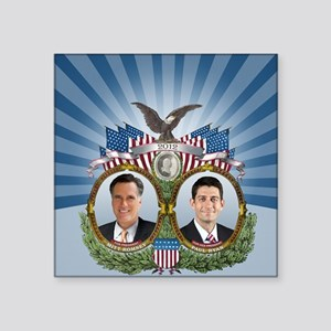 "Romney Ryan Jugate Square Sticker 3"" x 3"""