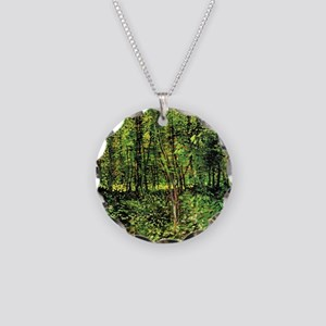 Van Gogh Trees And Undergrow Necklace Circle Charm