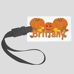 Halloween Pumpkin Brittany Large Luggage Tag