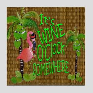 Its Wine Oclock somewhere Flamingo Tile Coaster