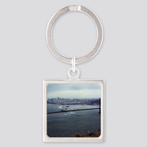 USS Nimitz - Golden Gate Bridge Square Keychain
