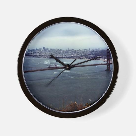 USS Nimitz - Golden Gate Bridge Wall Clock