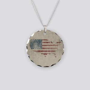Vintage USA Flag Map Necklace Circle Charm