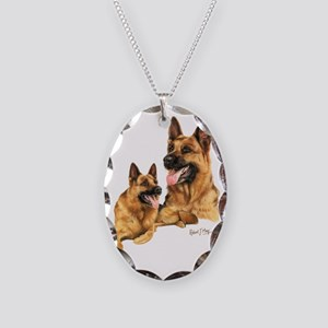 German Shepherd Necklace Oval Charm