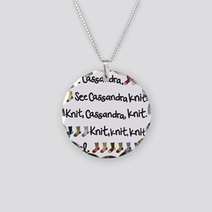 See Cassandra Knit Tote Necklace Circle Charm