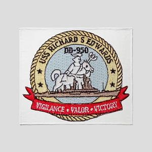 uss richard s. edwards patch transpa Throw Blanket