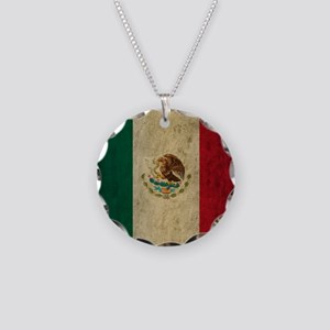 Grunge Mexico Flag Necklace Circle Charm