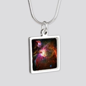 Orion Nebula Silver Square Necklace