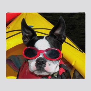 Red Goggled Boston Terrier Throw Blanket