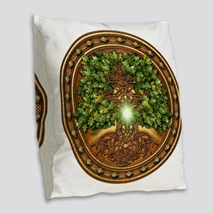 Celtic Sacred Trees - Oak Burlap Throw Pillow