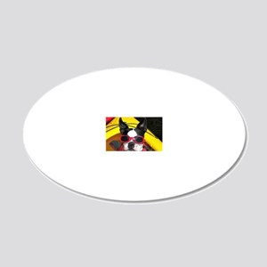 Red Goggled Boston Terrier 20x12 Oval Wall Decal