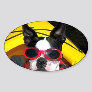 Red Goggled Boston Terrier Sticker (Oval)