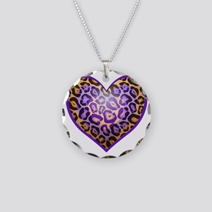 Punk Print Heart Necklace Circle Charm
