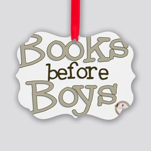 Books Before Boys Picture Ornament
