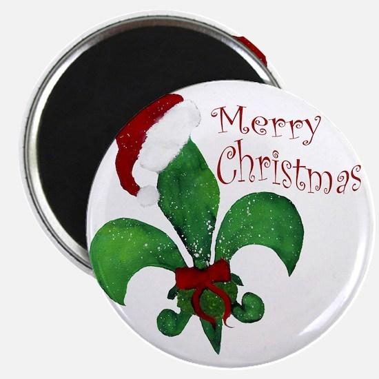 Merry Christmas Fleur de lis Magnet