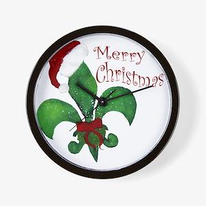 Merry Christmas Fleur de lis Wall Clock