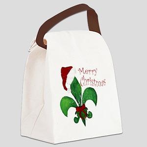 Merry Christmas Fleur de lis Canvas Lunch Bag