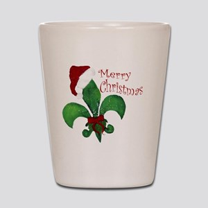 Merry Christmas Fleur de lis Shot Glass