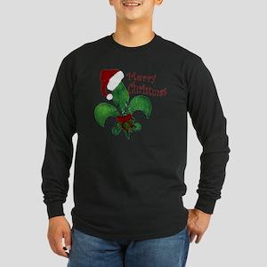 Merry Christmas Fleur de  Long Sleeve Dark T-Shirt