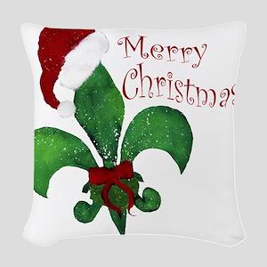Merry Christmas Fleur de lis Woven Throw Pillow