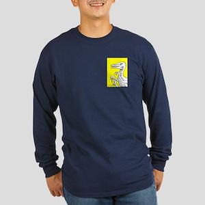 Bold Yellow Velociraptor! Long Sleeve Dark T-Shirt