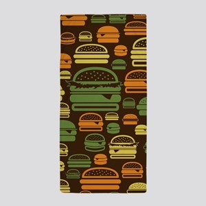 Burger Pattern Beach Towel