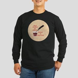 Lg Button Long Sleeve Dark T-Shirt