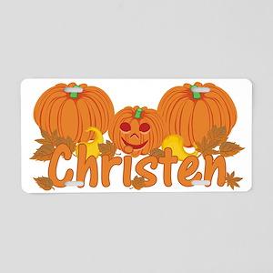 Halloween Pumpkin Christen Aluminum License Plate