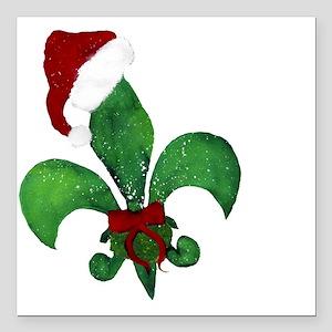"Merry Christmas Fleur de Square Car Magnet 3"" x 3"""