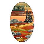 Polar Bear Art Sticker (Oval)