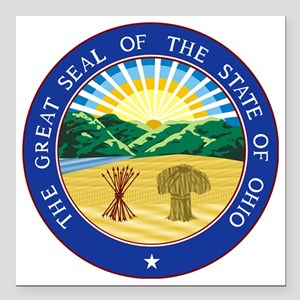 "Ohio State Seal Square Car Magnet 3"" x 3"""
