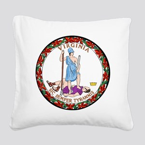 Virginia State Seal Square Canvas Pillow