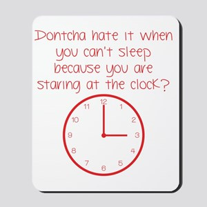 staring at the clock red Mousepad