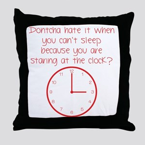 staring at the clock red Throw Pillow